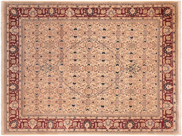 handmade Traditional Tabriz Beige Red Hand Knotted RECTANGLE 100% WOOL area rug 8x10 Hand knotted indoor Pak Persian vegetable dyed area rug made for all rooms with high quality New Zealand wool in rich color pallet weaved by skilled artisans in traditional transitional design known for quality and affordable price. Oriental rug offered at cheap discount for any decor, with Persian weave(KPSI upto 300)