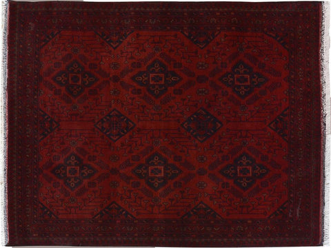 "A09622, 3' 5"" X  4'11"",Geometric  ,3' x 5',Red,RED,Hand-knotted                  ,Pakistan   ,100% Wool  ,Rectangle  ,652671180781"