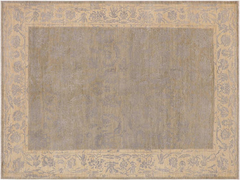 "A09626, 6' 6"" X  9' 9"",Modern                        ,6' x 9',Silver,IVORY,Hand-knotted                  ,Pakistan   ,Wool&silk  ,Rectangle  ,652671179037"