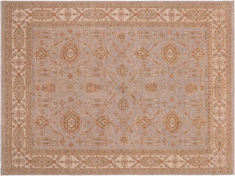 handmade Traditional Kafkaz Gray Beige Hand Knotted RECTANGLE 100% WOOL area rug 9 x 12