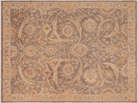 handmade Transitional Kafkaz Brown Tan Hand Knotted RECTANGLE 100% WOOL area rug 8 x 10