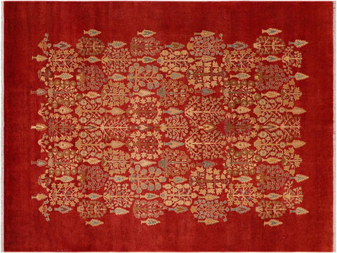 handmade Traditional Kafkaz Red Tan Hand Knotted RECTANGLE 100% WOOL area rug 8 x 10