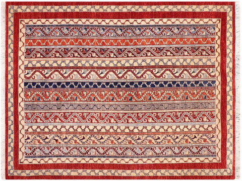 "A09697, 5' 7"" X  8' 2"",Transitional                  ,6' x 8',Red,BLUE,Hand-knotted                  ,Pakistan   ,100% Wool  ,Rectangle  ,652671181474"
