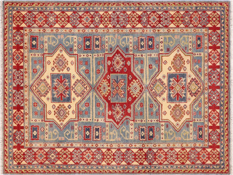 handmade Geometric Kazak Lt. Blue Beige Hand Knotted RECTANGLE 100% WOOL area rug 5 x 7