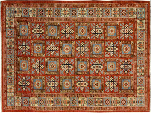 "A09703, 5'11"" X  9' 2"",Transitional                  ,6' x 9',Rust,LT. BLUE,Hand-knotted                  ,Pakistan   ,100% Wool  ,Rectangle  ,652671179464"
