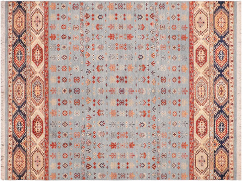 "A09709, 6' 0"" X  8' 6"",Geometric  ,6' x 9',Blue,IVORY,Hand-knotted                  ,Pakistan   ,100% Wool  ,Rectangle  ,652671181528"