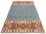 "A09721, 5' 4"" X  7'10"",Geometric                     ,5' x 8',Blue,IVORY,Hand-knotted                  ,Pakistan   ,100% Wool  ,Rectangle  ,652671181542"