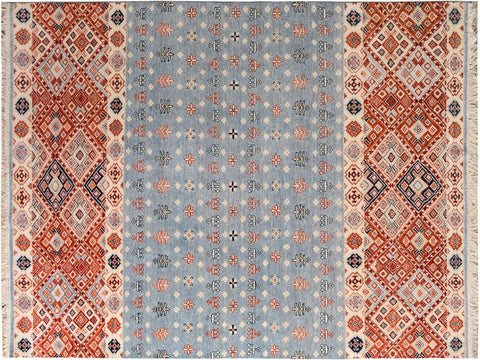 "A09727, 5'11"" X  8' 9"",Geometric  ,6' x 9',Grey,BLUE,Hand-knotted                  ,Pakistan   ,100% Wool  ,Rectangle  ,652671181559"