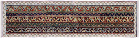 "A09740, 2' 6"" X  9'10"",Transitional                  ,2' x 10',Blue,IVORY,Hand-knotted                  ,Pakistan   ,100% Wool  ,Runner     ,652671181573"