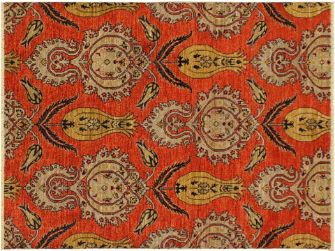 "A09749, 4' 0"" X  5' 9"",Modern     ,4' x 6',Orange,BLUE,Hand-knotted                  ,Pakistan   ,100% Wool  ,Rectangle  ,652671179686"