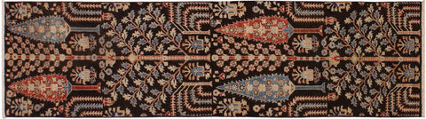 "A09791, 2' 8"" X  9' 8"",Geometric  ,3' x 10',Brown,BLUE,Hand-knotted                  ,Pakistan   ,100% Wool  ,Runner     ,652671179952"