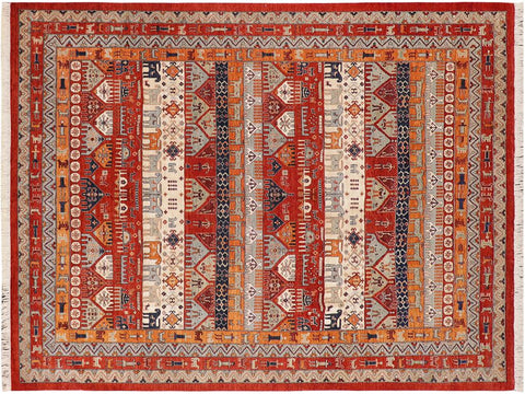 "A09816, 8'10"" X 11' 9"",Transitional                  ,9' x 12',Red,RUST,Hand-knotted                  ,Pakistan   ,100% Wool  ,Rectangle  ,652671180026"