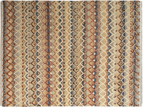 "A09822, 8' 3"" X 10' 6"",Modern                        ,8' x 10',Tan,BLUE,Hand-knotted                  ,Pakistan   ,100% Wool  ,Rectangle  ,652671181146"