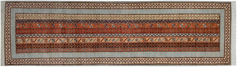 "A09828, 2' 9"" X  9' 5"",Transitiona,2.6' x 9',Blue,IVORY,Hand-knotted                  ,Pakistan   ,100% Wool  ,Runner     ,652671181665"
