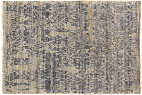 "A09836, 4' 1"" X  6' 3"",Modern     ,4' x 6',Grey,BLUE,Hand-knotted                  ,Pakistan   ,100% Wool  ,Rectangle  ,652671181924"