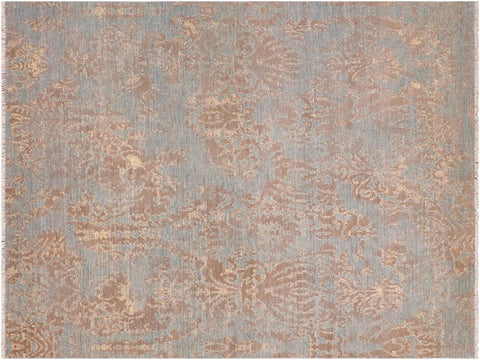 "A09846, 8' 1"" X 10' 3"",Modern     ,8' x 10',Blue,BROWN,Hand-knotted                  ,Pakistan   ,Wool&viscou,Rectangle  ,652671181931"