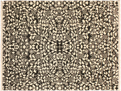 "A09855, 4' 0"" X  5'11"",Modern     ,4' x 6',Black,IVORY,Hand-knotted                  ,Pakistan   ,Wool&viscou,Rectangle  ,652671180163"