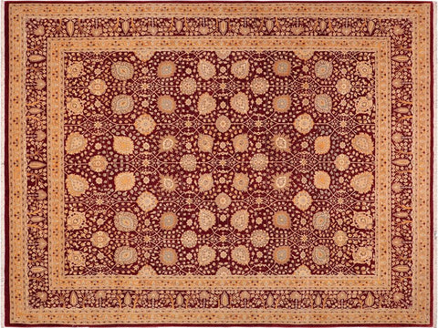 "A00986, 8' 5"" X 10' 4"",Traditional                   ,8' x 10',Burgundy,GOLD,Hand-knotted                  ,Pakistan   ,100% Wool  ,Rectangle  ,652671130984"