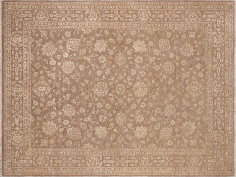handmade Transitional Kafkaz Beige Brown Hand Knotted RECTANGLE WOOL&SILK area rug 9x12'