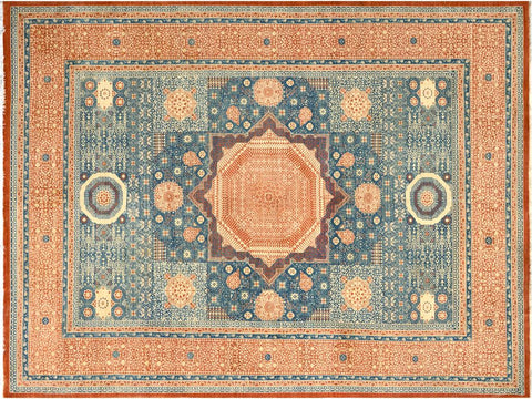 handmade Geometric Mamluk Rust Blue Hand Knotted RECTANGLE 100% WOOL area rug 10 x14 Hand knotted indoor mamluk wool area rug made for all rooms with high quality wool in rich color pallet handmade by skilled artisans in geometric, tribal design with center medallion is known for quality wool and affordable price. Oriental hand made rug offered at cheap discount for any decor one of a kind Mamluk Rug