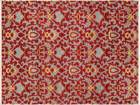 "A09893, 6' 1"" X  8'10"",Modern     ,6' x 9',Red,BLUE,Hand-knotted                  ,Pakistan   ,100% Wool  ,Rectangle  ,652671181955"
