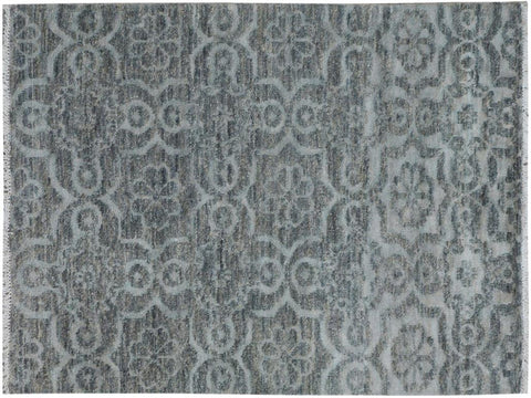 "A09894, 3'11"" X  5' 9"",Modern     ,4' x 6',Grey,GRAY,Hand-knotted                  ,Pakistan   ,Wool&viscou,Rectangle  ,652671180323"