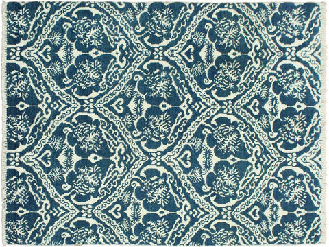 "A09896, 4' 2"" X  6' 0"",Modern     ,4' x 6',Blue,IVORY,Hand-knotted                  ,Pakistan   ,Wool&viscou,Rectangle  ,652671180330"