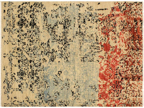 "A09897, 3'10"" X  5'11"",Modern     ,4' x 6',Blue,RED,Hand-knotted                  ,Pakistan   ,100% Wool  ,Rectangle  ,652671181979"