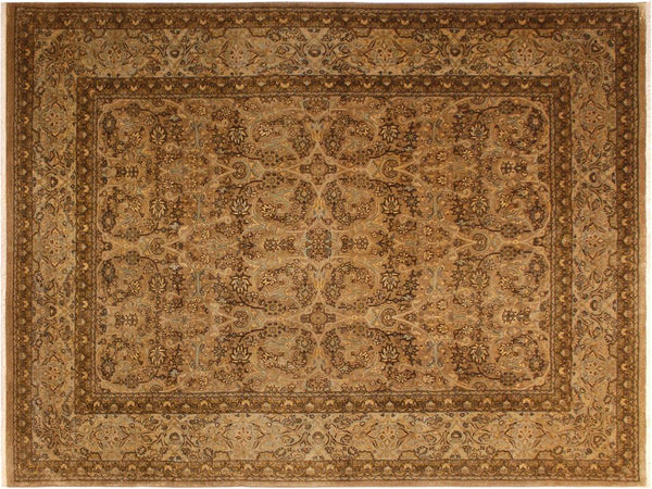 handmade Traditional Design Tan Blue Hand Knotted RECTANGLE 100% WOOL area rug 8x10