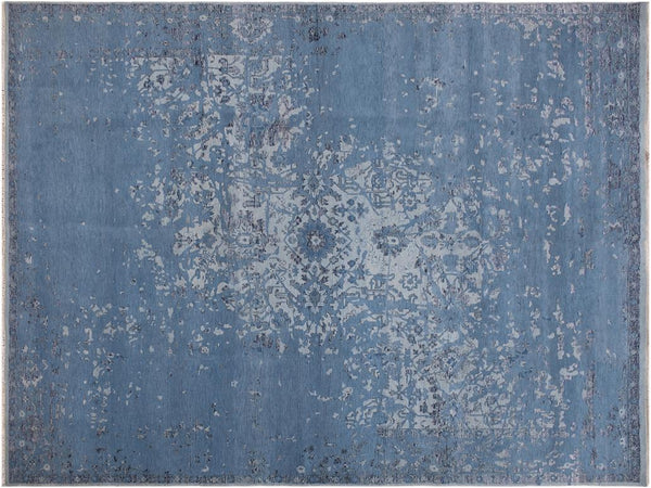 handmade Modern Abstract Lt. Blue Blue Hand Knotted RECTANGLE WOOL&VISCOU area rug 8x10 Hand knotted indoor modern contemporary area rug made for all rooms with high-quality wool in beautiful neutral and vibrant color pallet handmade by skilled artisans in Modern Ikat Abstract Grass Oushak Broken design is known for quality and affordability Oriental handmade rug offered at a cheap discount for any decor