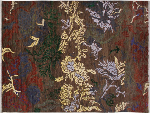 "B00146,10' 3"" X 14' 0"",Modern                        ,10' x 14',Brown,BLUE,Hand-knotted                  ,India      ,100% Wool  ,Rectangle  ,652671223488"