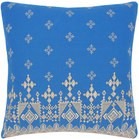 handmade Turkish Throw Pillow Blue Gray  SQUARE COTTON area rug