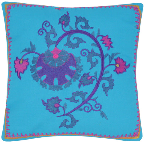handmade Turkish Throw Pillow Blue Gold  SQUARE COTTON area rug