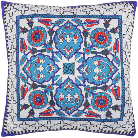 handmade Turkish Throw Pillow Ivory Teal  SQUARE SILK area rug