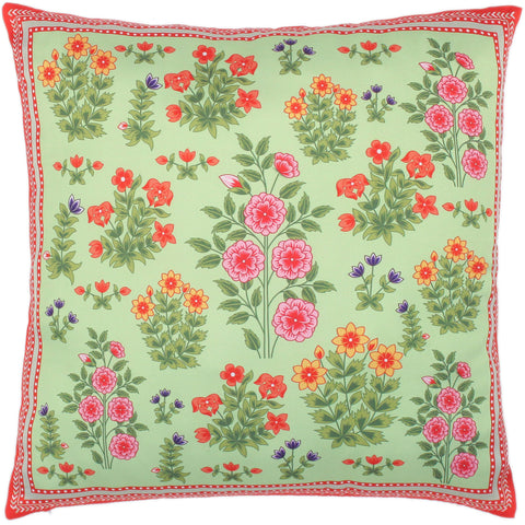 handmade Turkish Throw Pillow Green Red  SQUARE SILK area rug