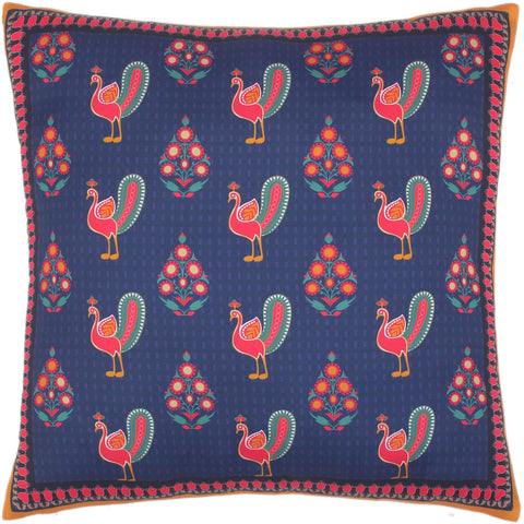 handmade Turkish Throw Pillow Blue Orange  SQUARE SILK area rug