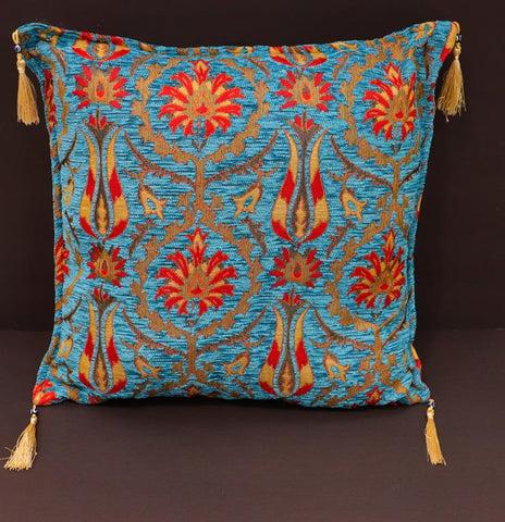 handmade Geometric Pillow Blue Red Handmade RECTANGLE throw pillow 2 x 2