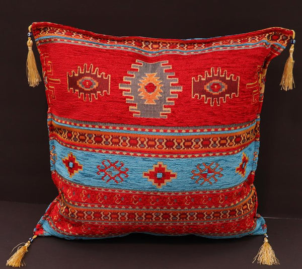 handmade Geometric Pillow Red Blue Handmade RECTANGLE throw pillow 2 x 2