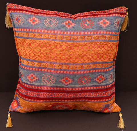 handmade Geometric Pillow Orange Green Handmade RECTANGLE throw pillow 2 x 2