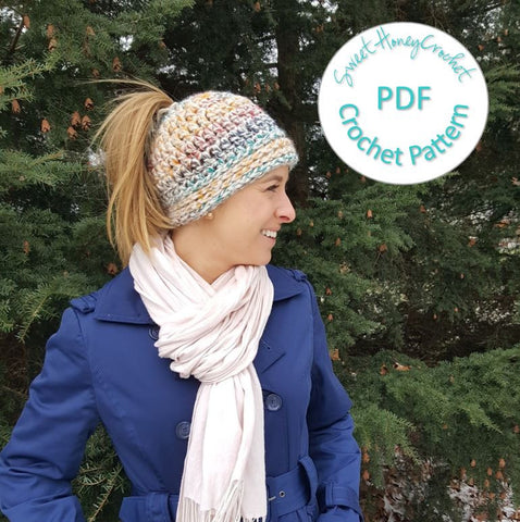 PATTERN: PDF crochet pattern for The Perfect 10 Ponytail Beanie
