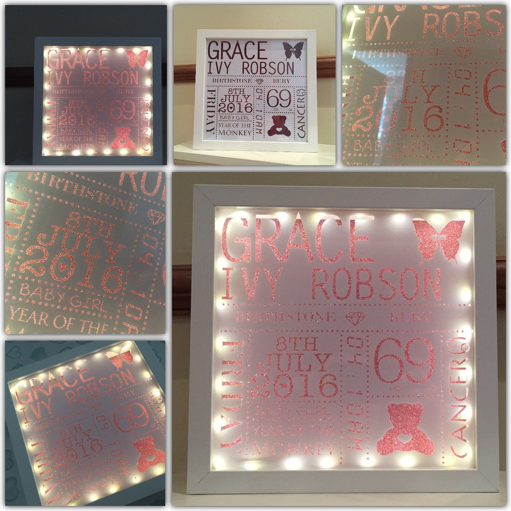 Baby Name Frame Light Up A Little Scarlett Rose