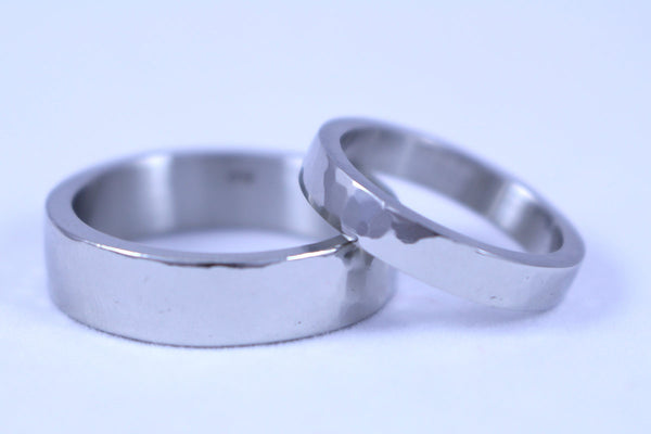 Gold Planished Wedding Band for Him