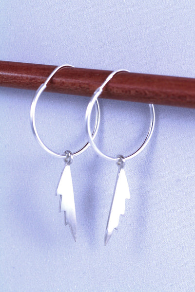 Jagged Feather Hoop Earring
