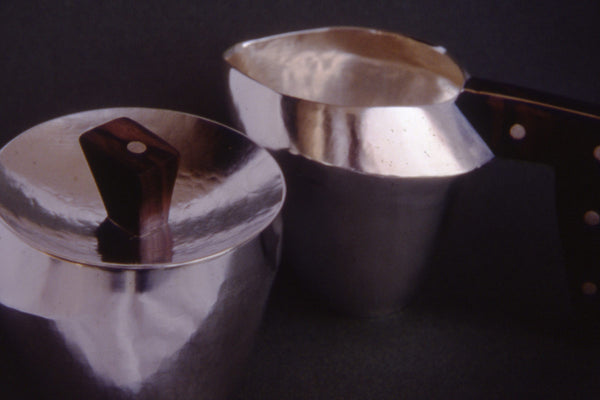Silver and Ebony Sugar and Creamer