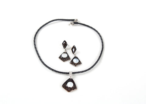 Diamante Sombrio | Etched Gourd Jewelry Set