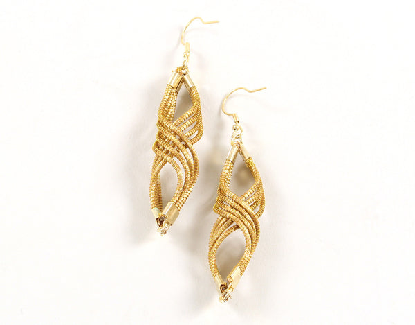 Spiral Drop | Golden Grass Pendant Earrings