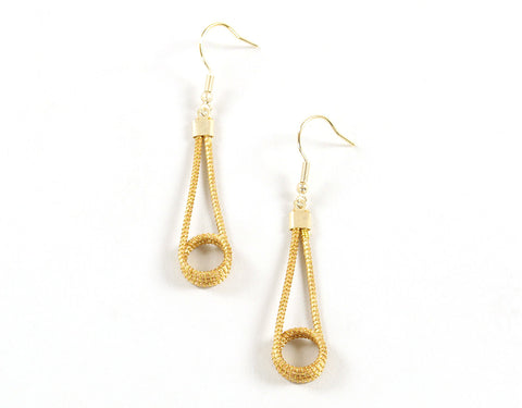 Medium Lasso | Golden Grass Pendant Earrings