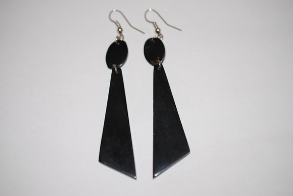Buffalo Horn Black Hatchet Earrings