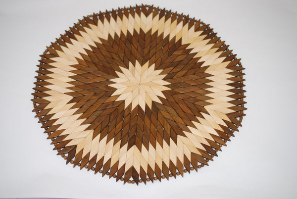 Wooden Diamond Round Placemat Small