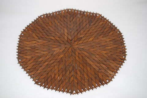 Wooden Diamond Round Solid Placemat Large